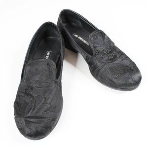 Ann Demeulemeester Black Floral Embroidered Shoes